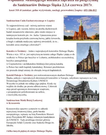 Wspólnota Nieustającego Różańca zaprasza na pielgrzymkę  do Sanktuariów Dolnego Śląska 2,3,4 czerwca 2017r.